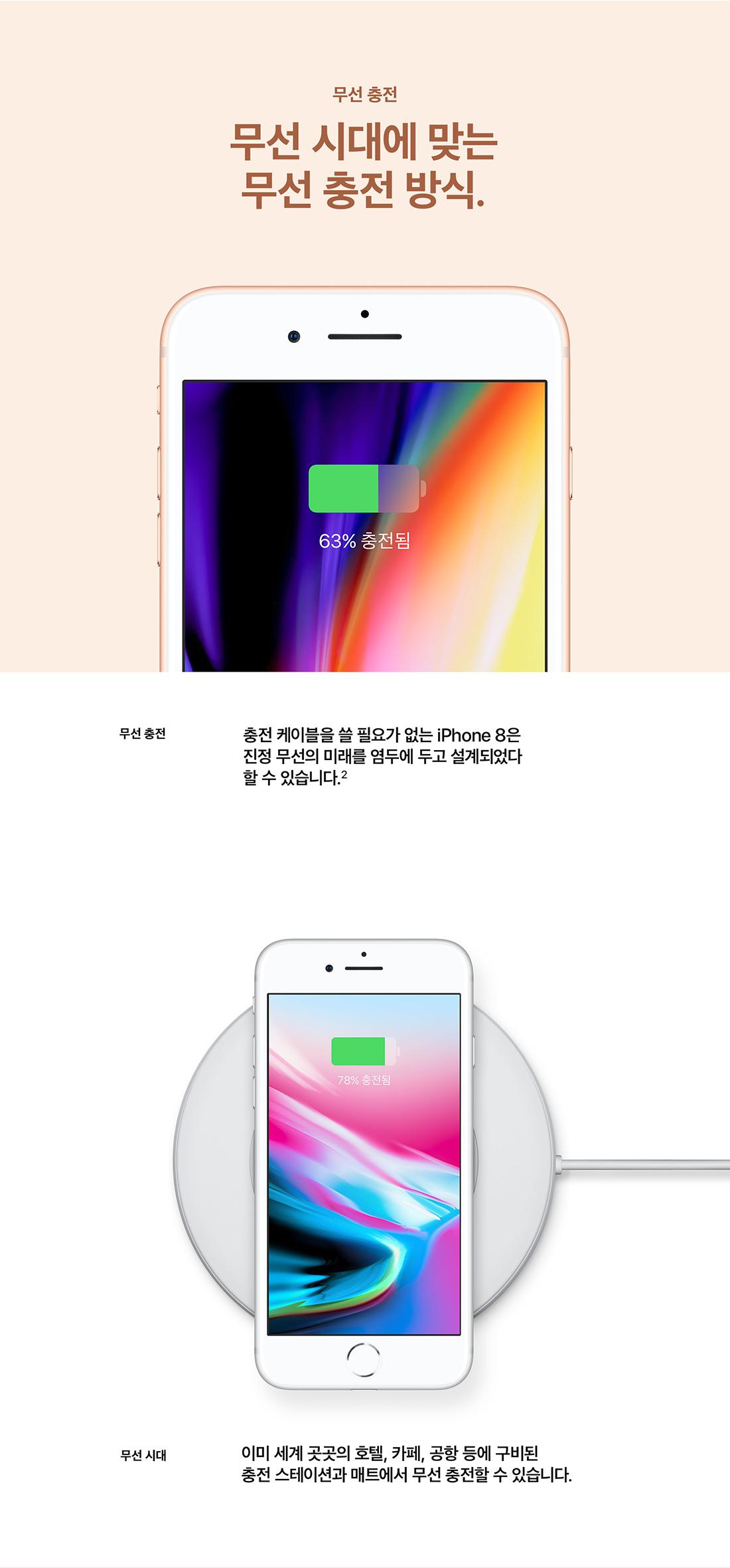 iPhone 8. 재색겸비. iPhone 8은 새로움으로 가득합니다. 무선 충전 (자세한 내용은 하단 문구 참조)